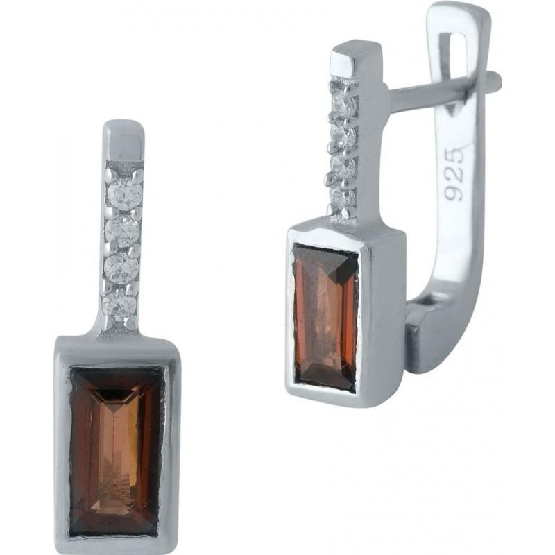 Серебряные серьги SilverBreeze с натуральным гранатом (1972656)