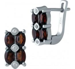 Серебряные серьги SilverBreeze с натуральным гранатом (1938676)