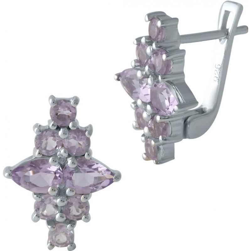 Серебряные серьги SilverBreeze с натуральным аметистом (1998991)