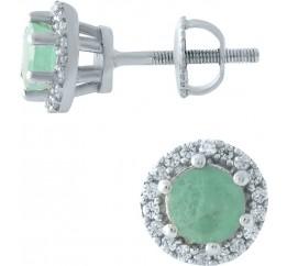 Серебряные серьги SilverBreeze с натуральным изумрудом (1966686)