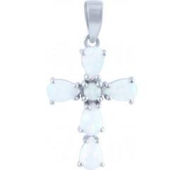 Серебряный крестик SilverLine с опалом (1666821)