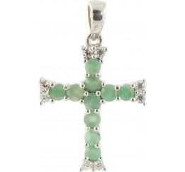 Серебряный крестик SilverLine с изумрудом (1148327)