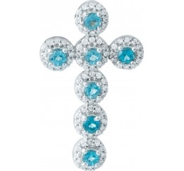 Серебряный крестик SilverBreeze с топазом Лондон Блю (1951163)