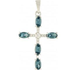 Серебряный крестик SilverBreeze с топазом Лондон Блю (1244166)