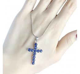 Серебряный крестик SilverBreeze с сапфиром nano (1530566)