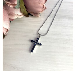 Серебряный крестик SilverBreeze с сапфиром (1502167)