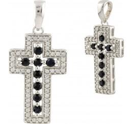 Серебряный крестик SilverBreeze с сапфиром (0459950)