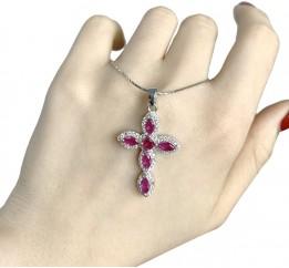 Серебряный крестик SilverBreeze с рубином (1930021)