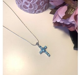 Серебряный крестик SilverBreeze с аквамарином nano (1998809)