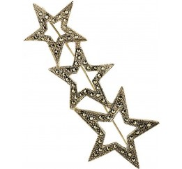 Серебряная брошка SilverBreeze с натуральными марказитами (0261027)
