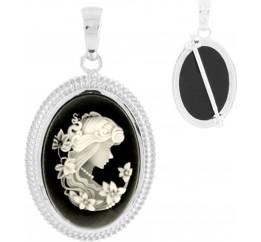Серебряная брошка SilverBreeze с натуральным емаллю, перламутром (1529102)