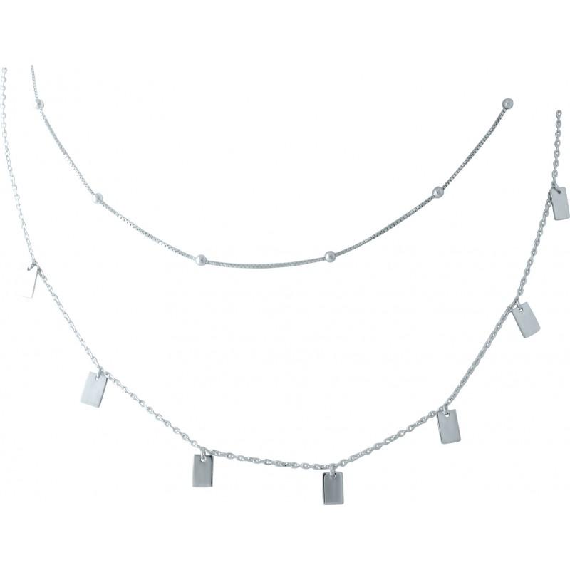 Серебряное колье SilverBreeze без камней (1953105) 420 размер