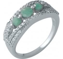 Серебряное кольцо SilverBreeze с натуральным изумрудом (1990452) 17.5 размер