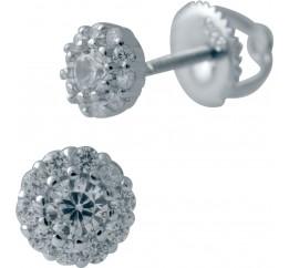 Серебряные серьги SilverBreeze с фианитами (2036456)