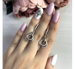 Серебряные серьги SilverBreeze с фианитами (2036340)