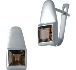 Серебряные серьги SilverBreeze с натуральным раухтопазом (димчатим кварцем) (2033523)