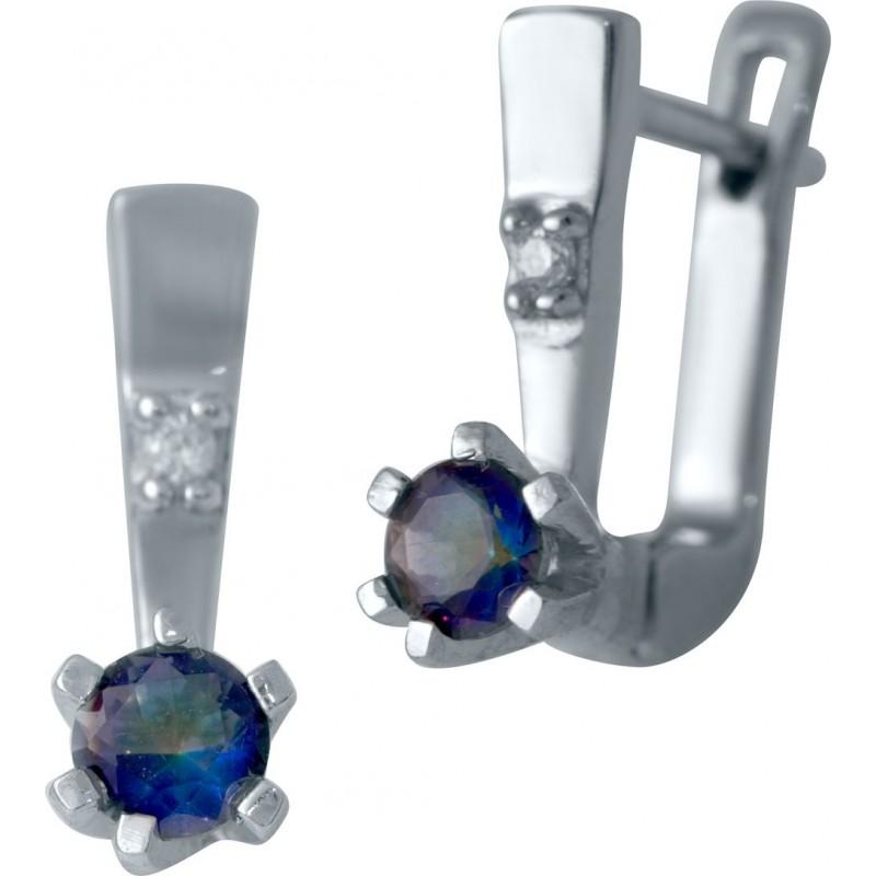 Серебряные серьги SilverBreeze с натуральным мистик топазом (2032151)