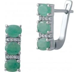 Серебряные серьги SilverBreeze с натуральным изумрудом (2027485)
