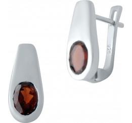 Серебряные серьги SilverBreeze с натуральным гранатом (2030751)