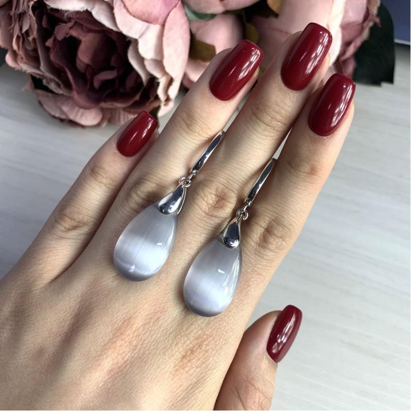 Серебряные серьги SilverBreeze с кошачим глазом (2026556)