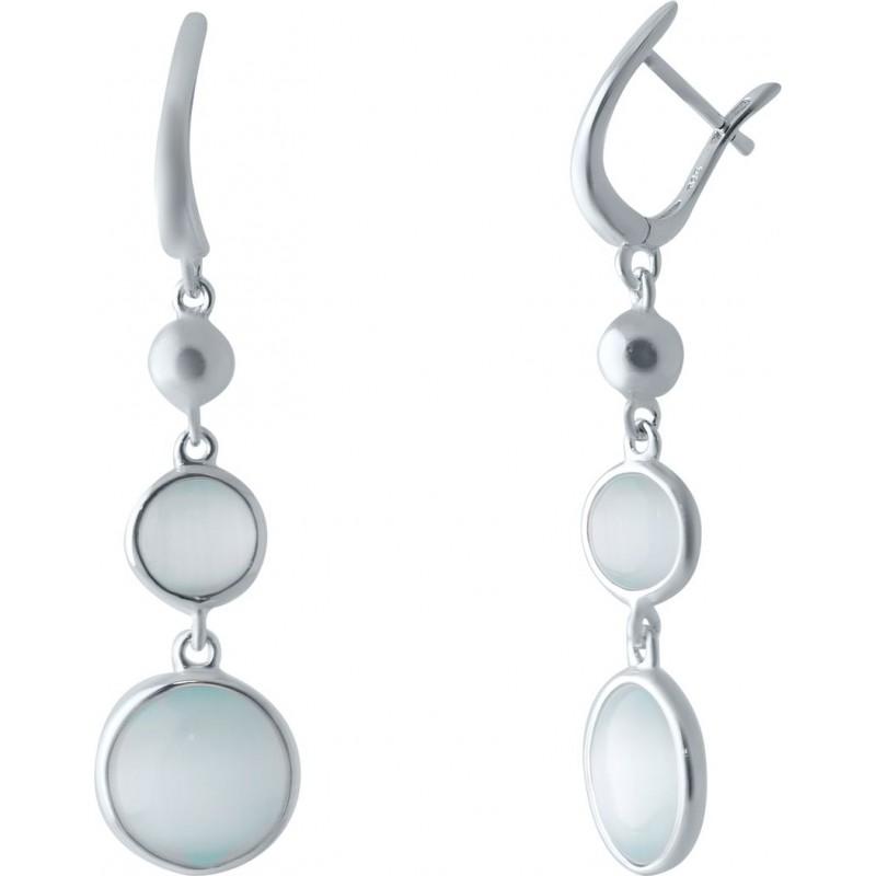 Серебряные серьги SilverBreeze с кошачим глазом (2026211)