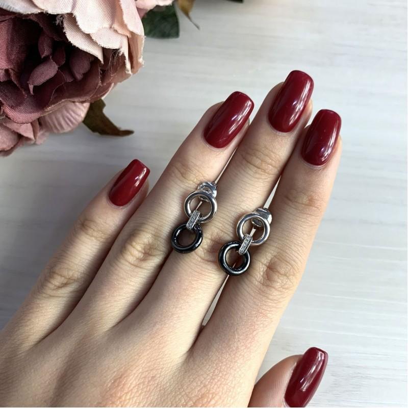 Серебряные серьги SilverBreeze с керамикой (2032823)
