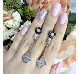 Серебряные серьги SilverBreeze с керамикой (1577387)