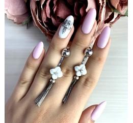 Серебряные серьги SilverBreeze с , керамикой (1766408)