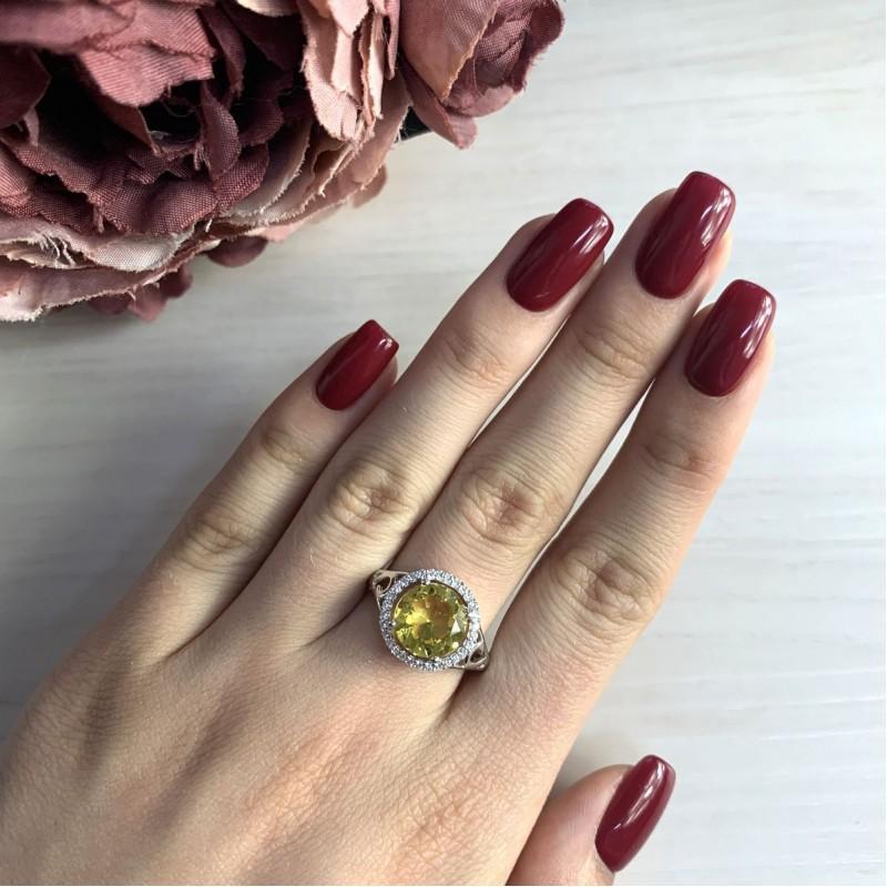 Серебряное кольцо SilverBreeze с цитрином nano (2031888) 17.5 размер