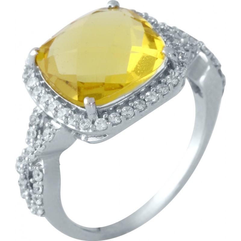 Серебряное кольцо SilverBreeze с цитрином nano (1957608) 17.5 размер