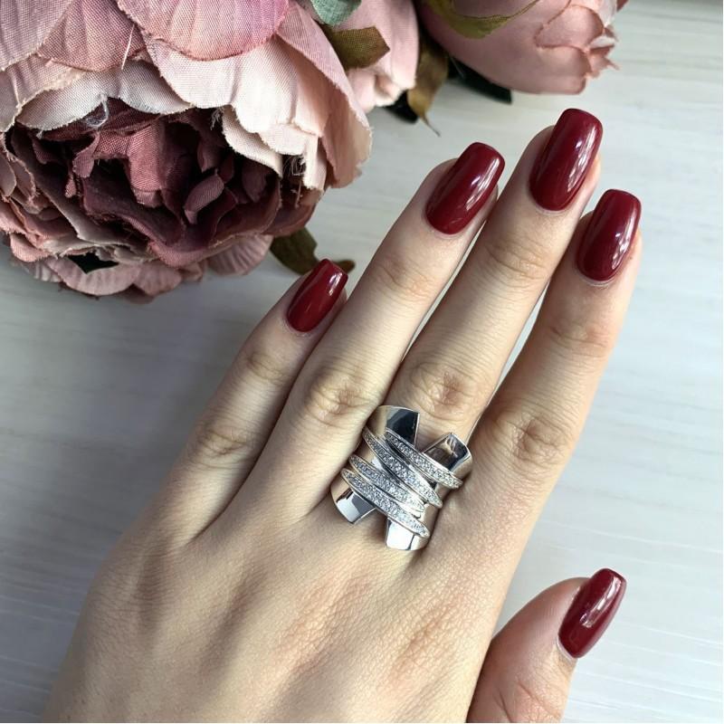 Серебряное кольцо SilverBreeze с фианитами (2031642) 18.5 размер
