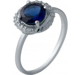Серебряное кольцо SilverBreeze с сапфиром nano (2029601) 17 размер