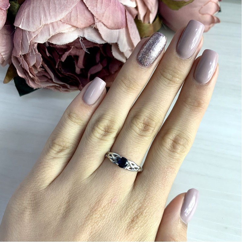Серебряное кольцо SilverBreeze с сапфиром nano (1969557) 17.5 размер
