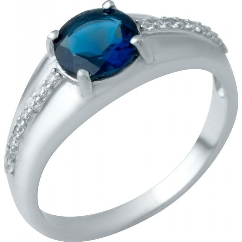 Серебряное кольцо SilverBreeze с сапфиром nano (1946435) 17 размер