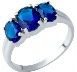 Серебряное кольцо SilverBreeze с сапфиром nano (1937754) 18 размер