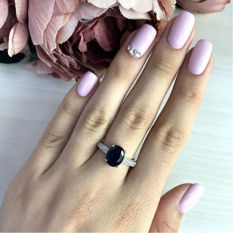 Серебряное кольцо SilverBreeze с сапфиром nano (1633502) 17 размер