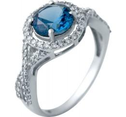 Серебряное кольцо SilverBreeze с натуральным топазом Лондон Блю (2030621) 18.5 размер