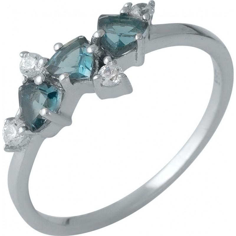 Серебряное кольцо SilverBreeze с натуральным топазом Лондон Блю (1988329) 17.5 размер