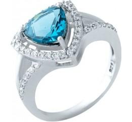 Серебряное кольцо SilverBreeze с натуральным топазом Лондон Блю (1963388) 18 размер