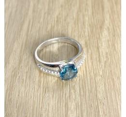 Серебряное кольцо SilverBreeze с натуральным топазом Лондон Блю (1949245) 17 размер