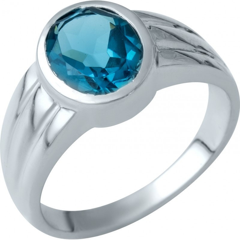Серебряное кольцо SilverBreeze с натуральным топазом Лондон Блю (1937549) 17 размер