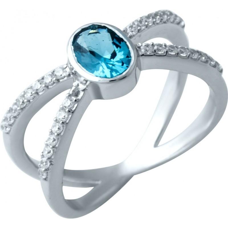 Серебряное кольцо SilverBreeze с натуральным топазом Лондон Блю (1913239) 17 размер
