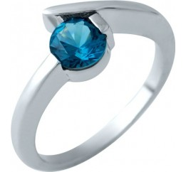 Серебряное кольцо SilverBreeze с натуральным топазом Лондон Блю (1913000) 18 размер