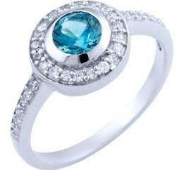 Серебряное кольцо SilverBreeze с натуральным топазом Лондон Блю (1823866) 17.5 размер