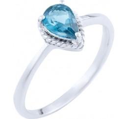 Серебряное кольцо SilverBreeze с натуральным топазом Лондон Блю (1725825) 17.5 размер