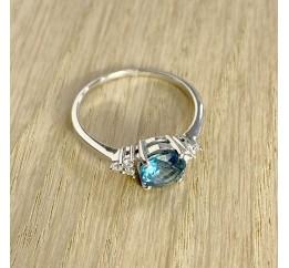 Серебряное кольцо SilverBreeze с натуральным топазом Лондон Блю (1074220) 17 размер