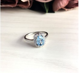 Серебряное кольцо SilverBreeze с натуральным топазом (2030683) 17 размер