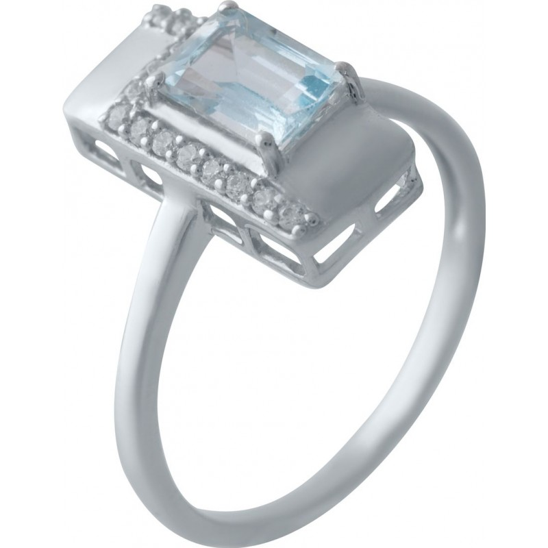Серебряное кольцо SilverBreeze с натуральным топазом (2028352) 17 размер