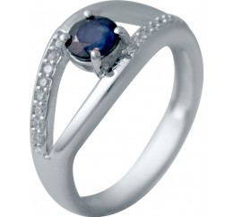 Серебряное кольцо SilverBreeze с натуральным сапфиром (2030393) 16.5 размер