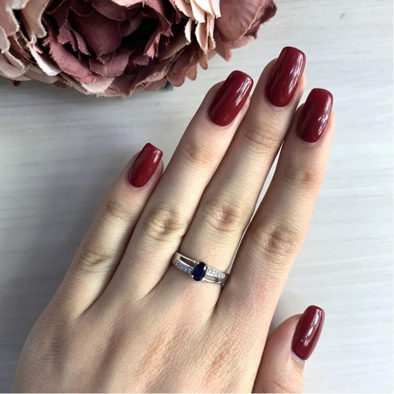 Серебряное кольцо SilverBreeze с натуральным сапфиром (2030362) 18 размер